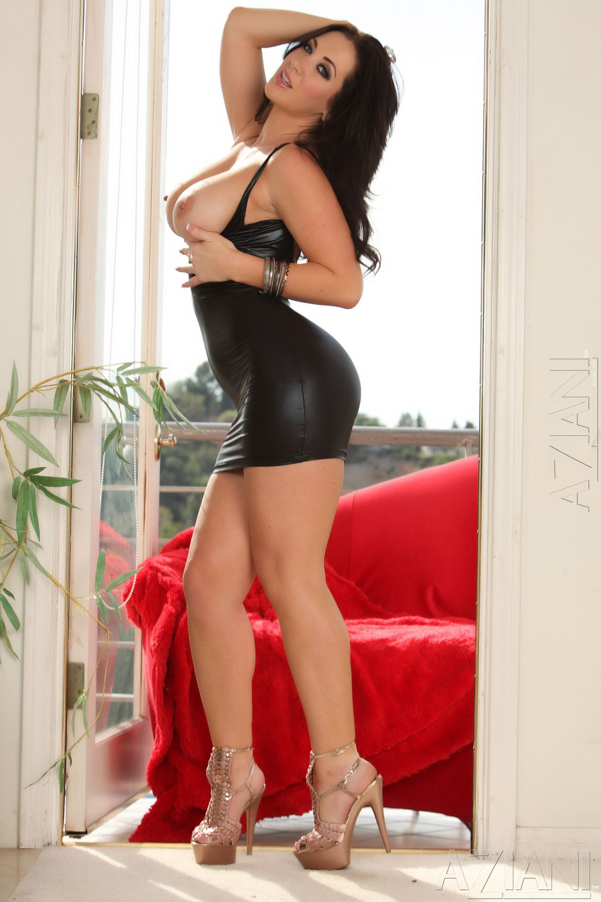 Джейден Джеймс, фото 39. Jayden Jaymes Posing in a Black Wetlook Dress, foto 39